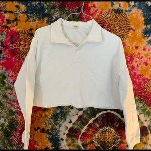 White Cropped Long Sleeve Polo